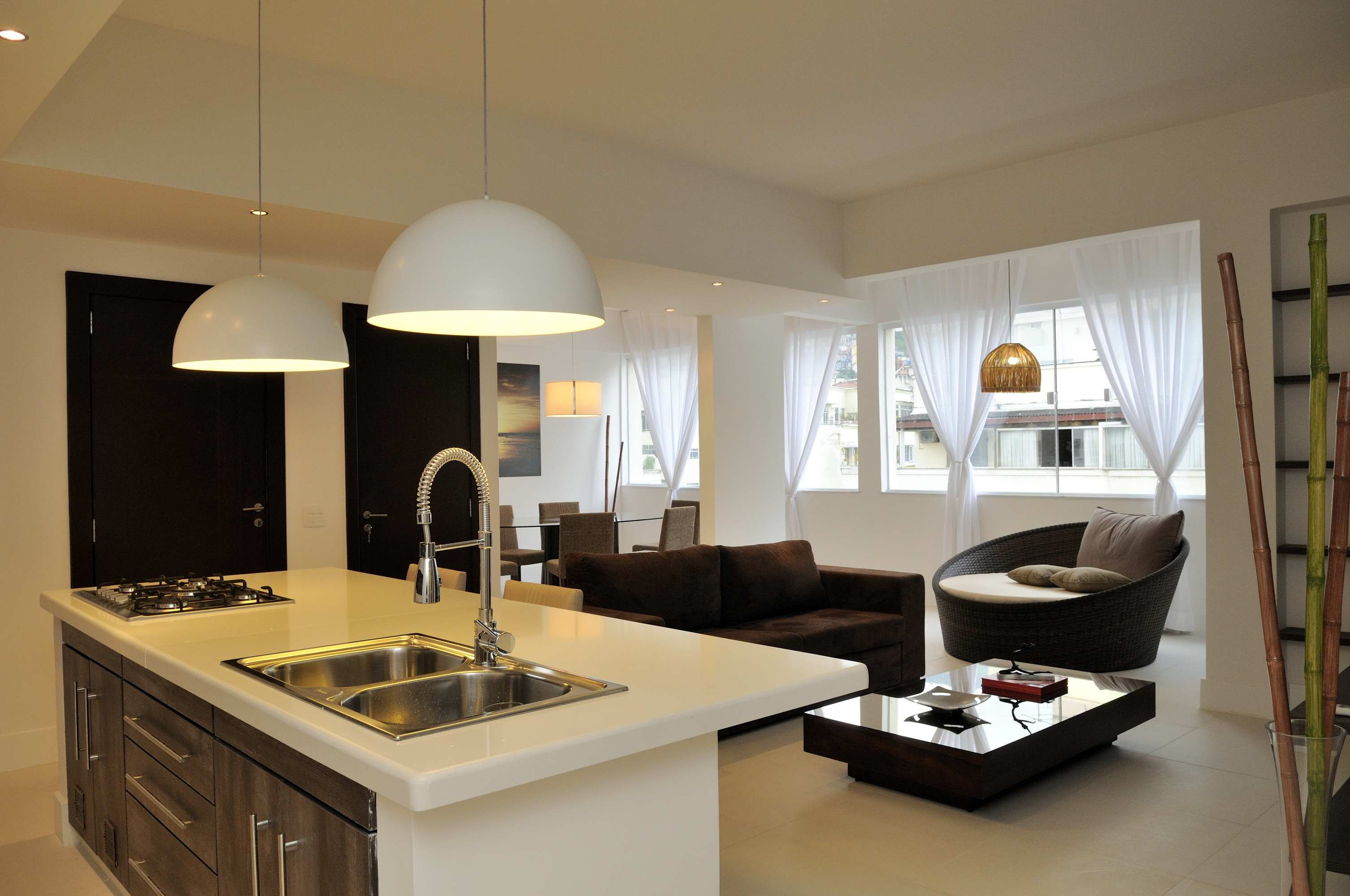American style kitchen and living room - Apartment Livingroom Grey Luxus Appartement Id